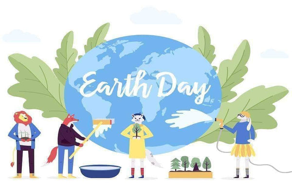 Four Anthropomorphic cartoon animals cleaning and scrubbing the earth for Earth Day