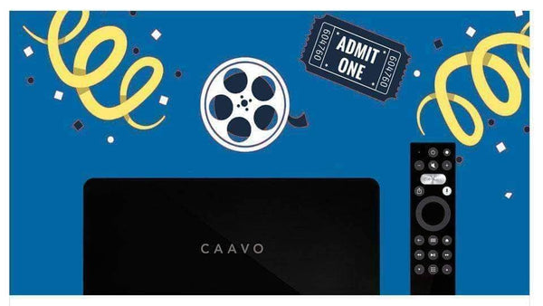 Caavo Control Center and remote surrounded by confetti, a movie reel, and a movie ticket