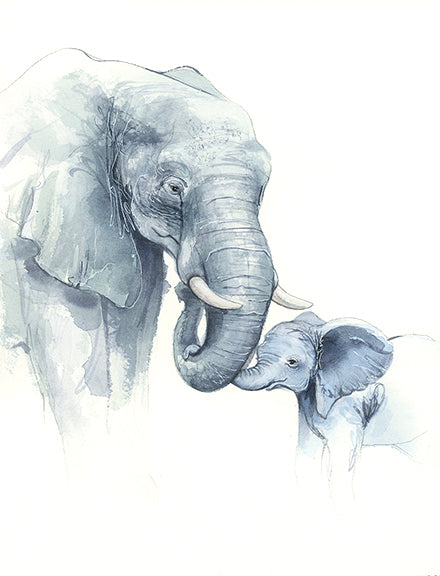 Elephant Mother and Baby Original Watercolor, Original Painting - Ashley Prejoles Art