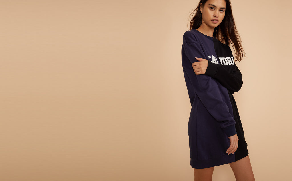 Half navy half black CaliYork Sweatshirt dress