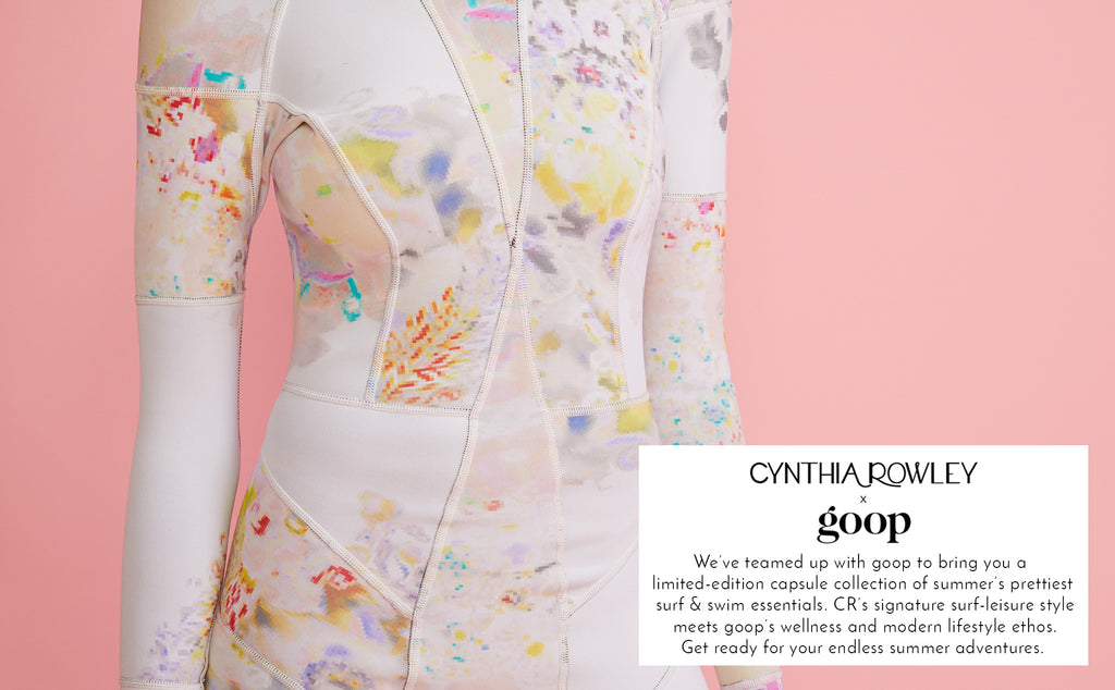 Detail image of the Light Floral Hightide wetsuit with overlaid copy announcing the Cynthia Rowley x goop collaboration.