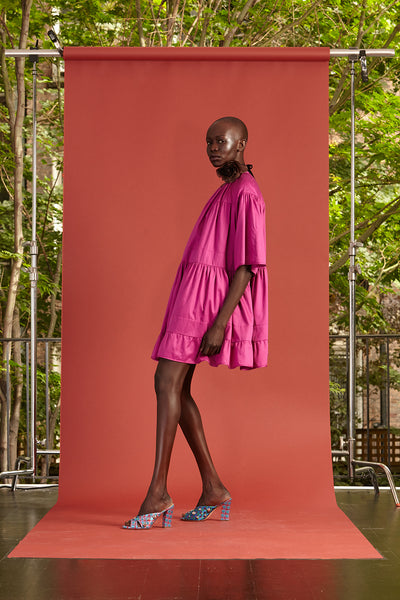 Cynthia Rowley Resort 2017 look 10 featuring a bright pink mini dress