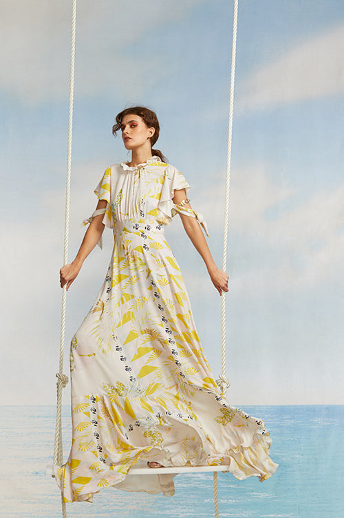 Cynthia Rowley Spring 2018 Look 11 featuring a silk twill printed maxi dress with flutter sleeves