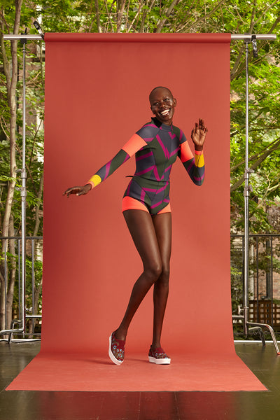 Cynthia Rowley Resort 2017 look 11 featuring a colorful printed neoprene wetsuit