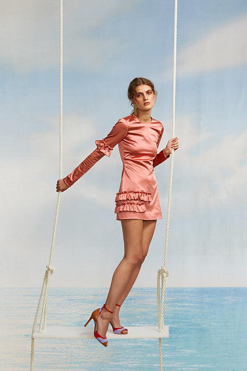 Cynthia Rowley Spring 2018 Look 13 featuring pink stretch silk long sleeve mini dress