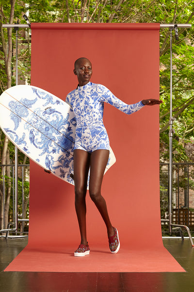 Cynthia Rowley Resort 2017 look 14 featuring a white and blue printed wetsuit