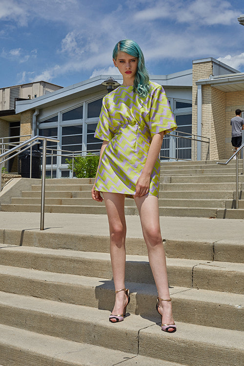 Cynthia Rowley Resort 2019 Collection features a green and purple mini dress that gathers at the high waist, and is paired with blush and gold heels.