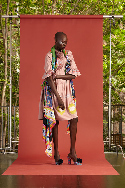 Cynthia Rowley Resort 2017 look 16 featuring a pink printed knee length dress