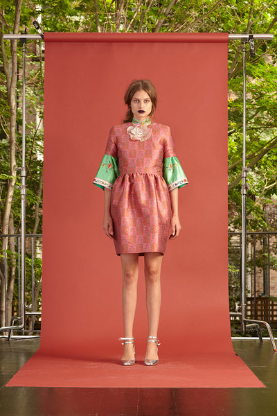 Cynthia Rowley Resort 2017 look 19 featuring a green and red brocade mini dress