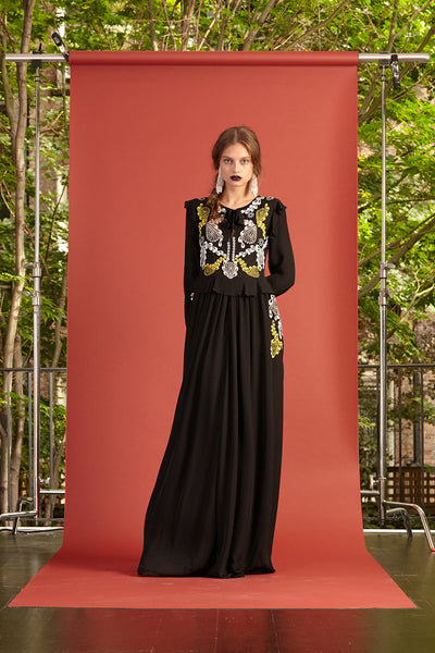 Cynthia Rowley Resort 2017 look 23 featuring a black yellow and white embroidered maxi long sleeve dress