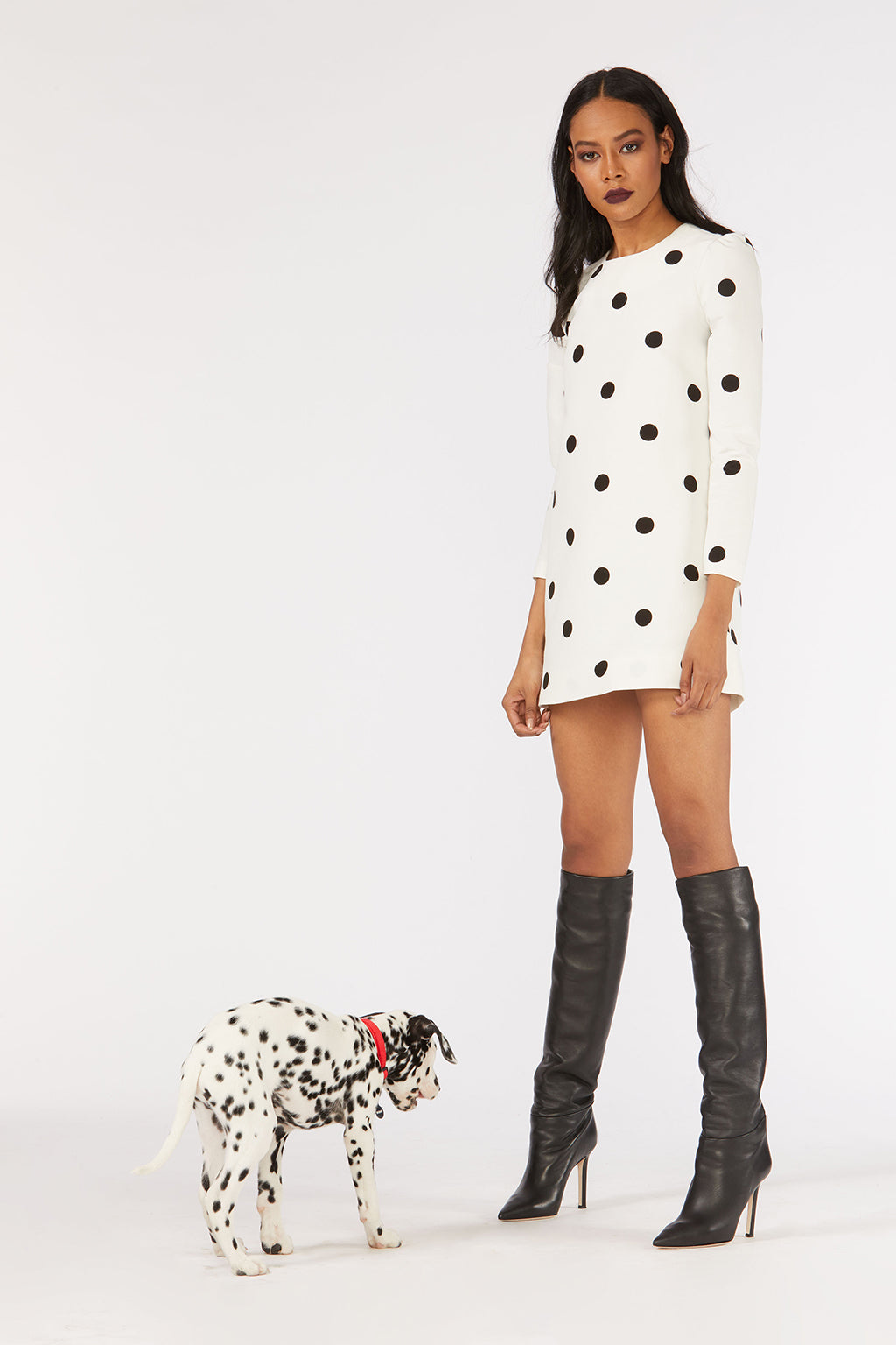 Cynthia Rowley Fall 2018 look 24 featuring a black and white polka dot long sleeve mini dress.