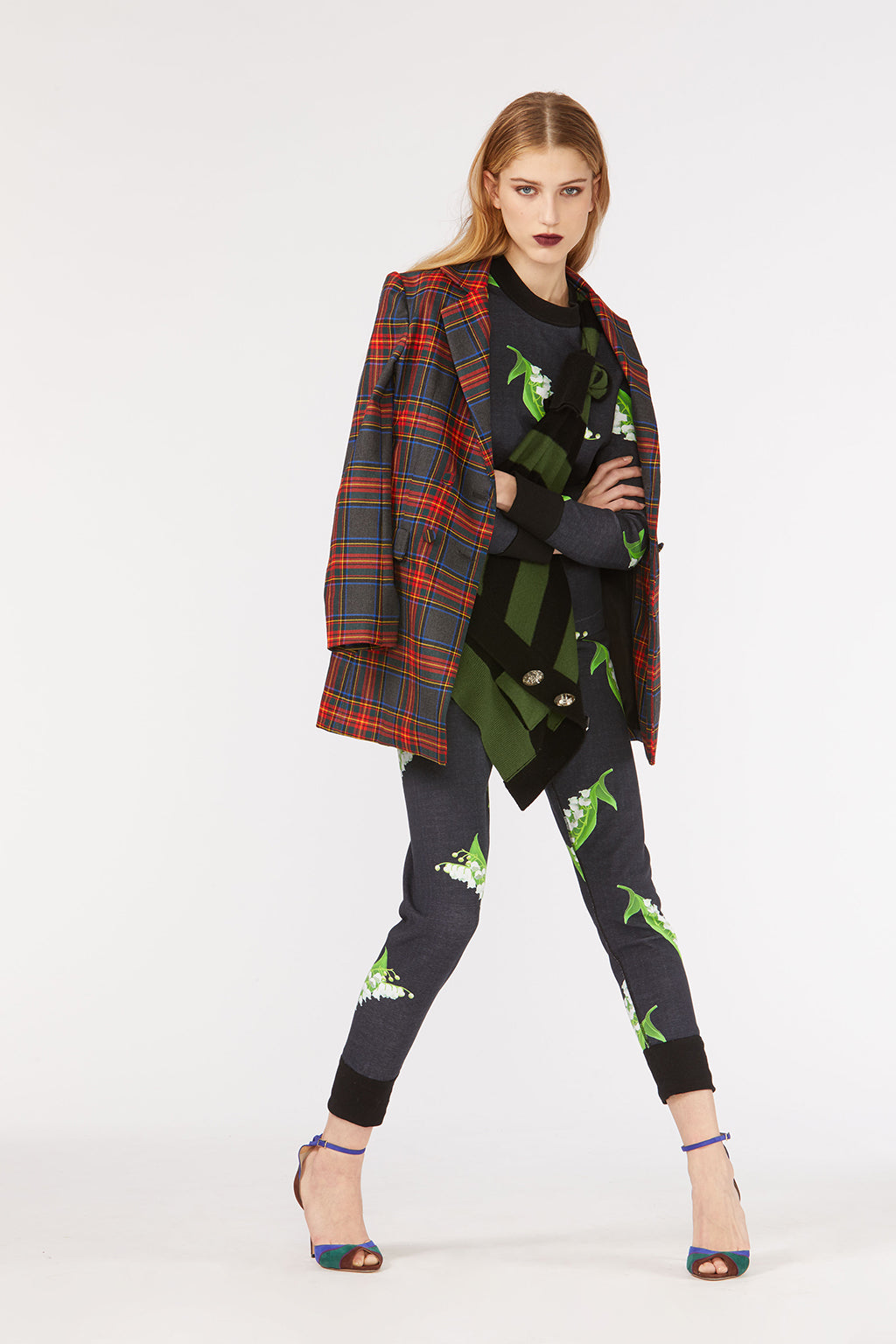 Cynthia Rowley Fall 2018 look 25 featuring lily of the valley printed leggings and sweatshirt, and plaid blazer.