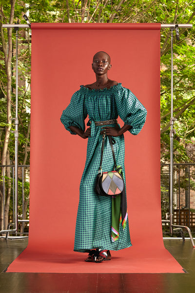 Cynthia Rowley Resort 2017 look 26 featuring a maxi turquoise gingham off the shoulder dress
