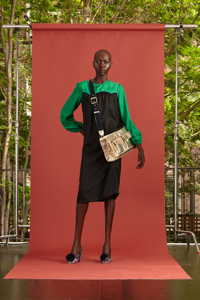 Cynthia Rowley Resort 2017 look 28 featuring a green and black long sleeve midi dress