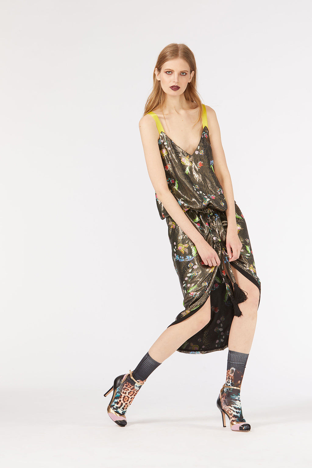 Cynthia Rowley Fall 2018 look 29 featuring a drop waist v-neck dress in metallic floral printed silk.
