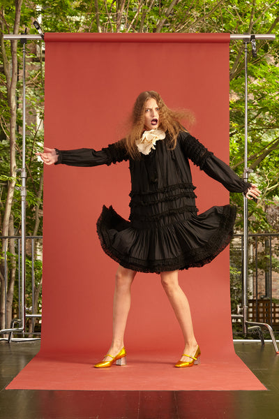 Cynthia Rowley Resort 2017 Look 2 featuring a black ruffle knee length dress