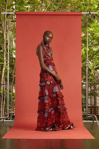 Cynthia Rowley Resort 2017 look 31 featuring a red and purple floral print tiered maxi dress