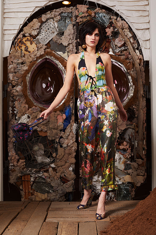 Cynthia Rowley Pre-Fall 2018 Look 7 featuring a printed halter one piece swimsuit and metallic floral print pajama pants