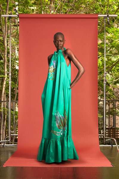 Cynthia Rowley Resort 2017 look 7 featuring a green printed maxi dress