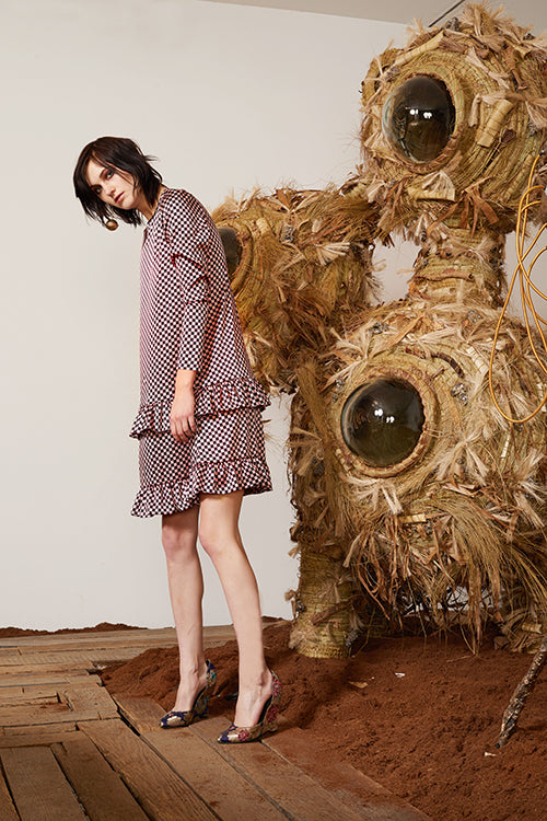 Cynthia Rowley Pre-Fall 2018 Look 9 featuring a long sleeve dress with double ruffle hem in printed silk