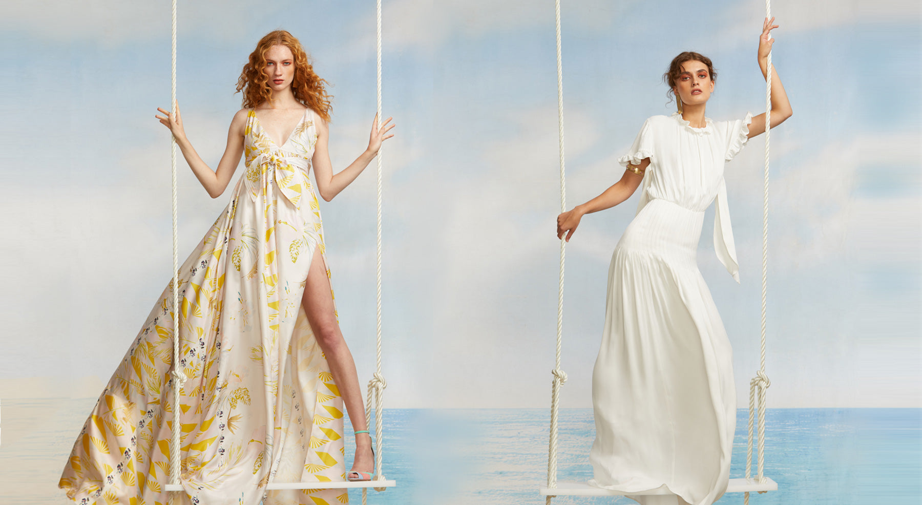 Models on swings featuring the Aurora Maxi printed maxi dress and the white Talia maxi dress.