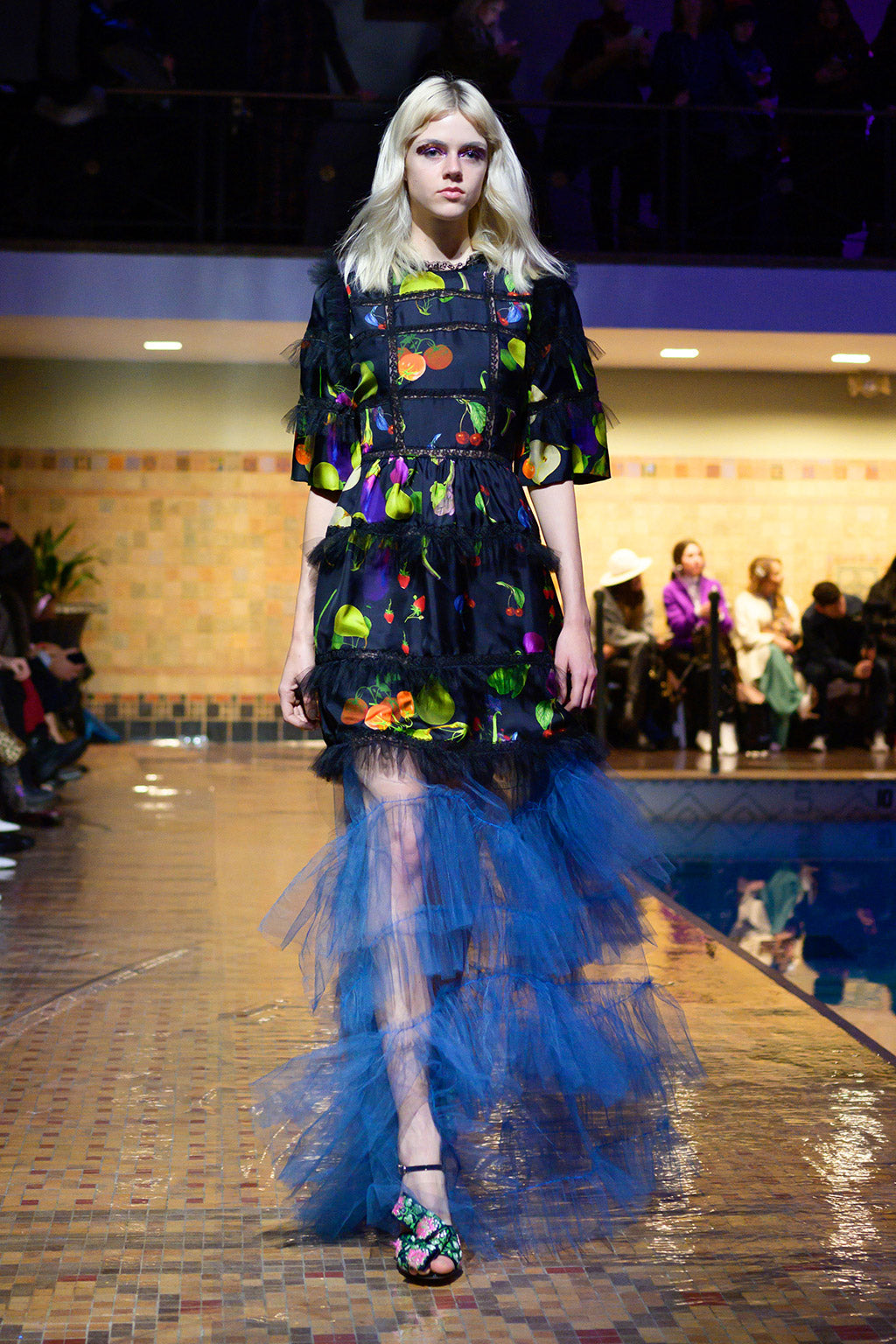 Cynthia Rowley Fall 2019 look 1 featuring a mini dress with elbow length sleeves and tulle in a fruit print