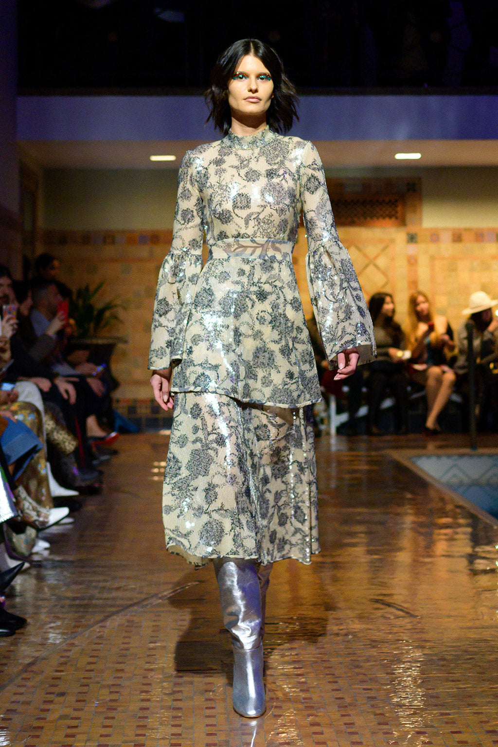 Cynthia Rowley Fall 2019 look 15 featuring a maxi dress with long bell sleeves, a high neck, embroidered print and multiple layers