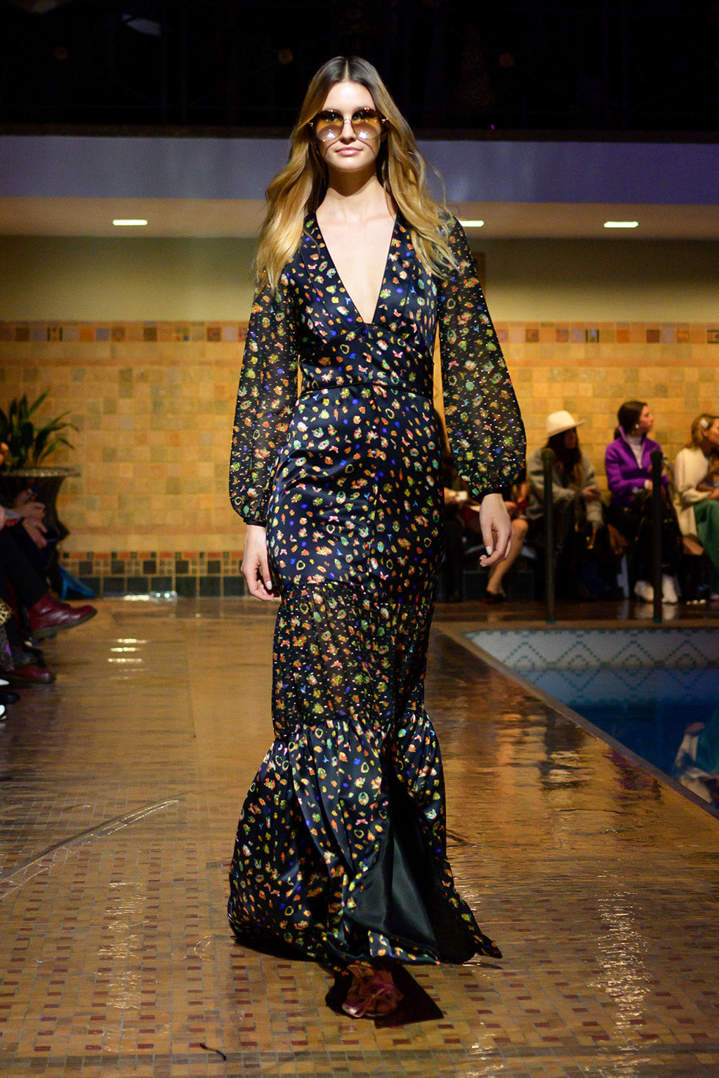 Cynthia Rowley Fall 2019 look 17 featuring a maxi dress with deep V-neck and long bell sleeves in a fruit print