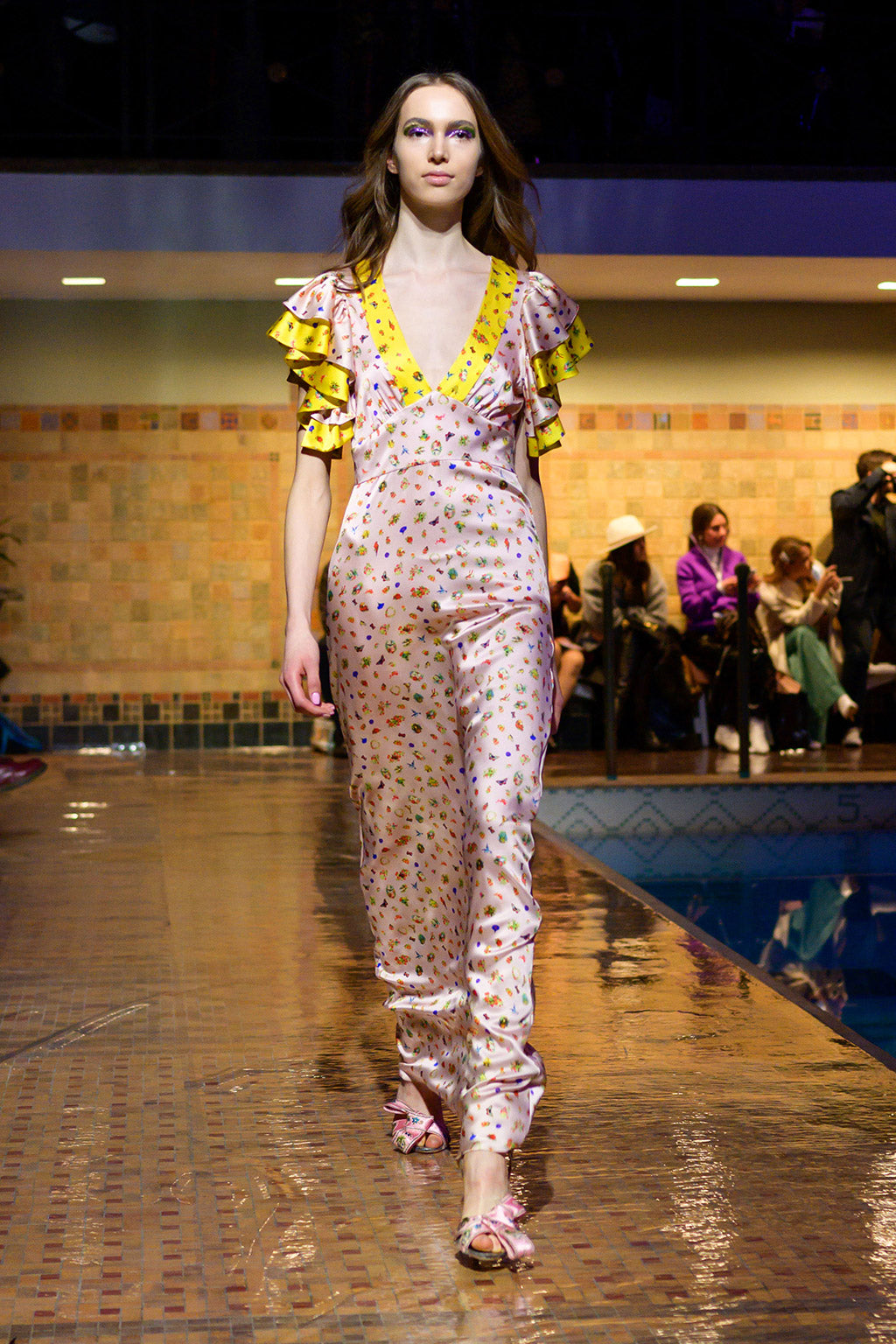 Cynthia Rowley Fall 2019 look 19 featuring a pink and yellow maxi dress with short sleeves with ruffles