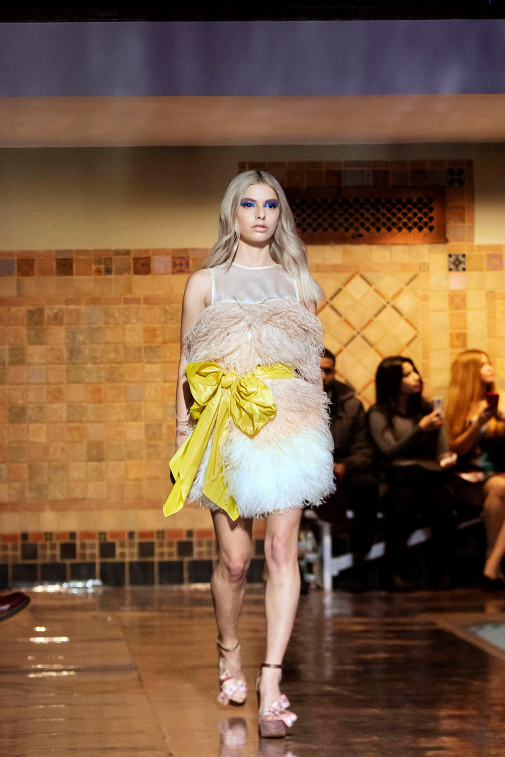 Cynthia Rowley Fall 2019 look 20 featuring a mini ombre sleeveless dress with yellow sash