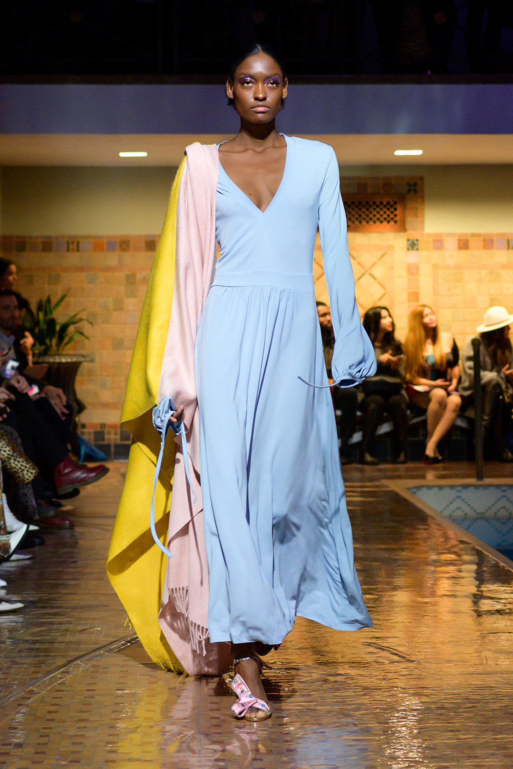 Cynthia Rowley Fall 2019 look 25 featuring a blue v-neck maxi dress with long sleeves