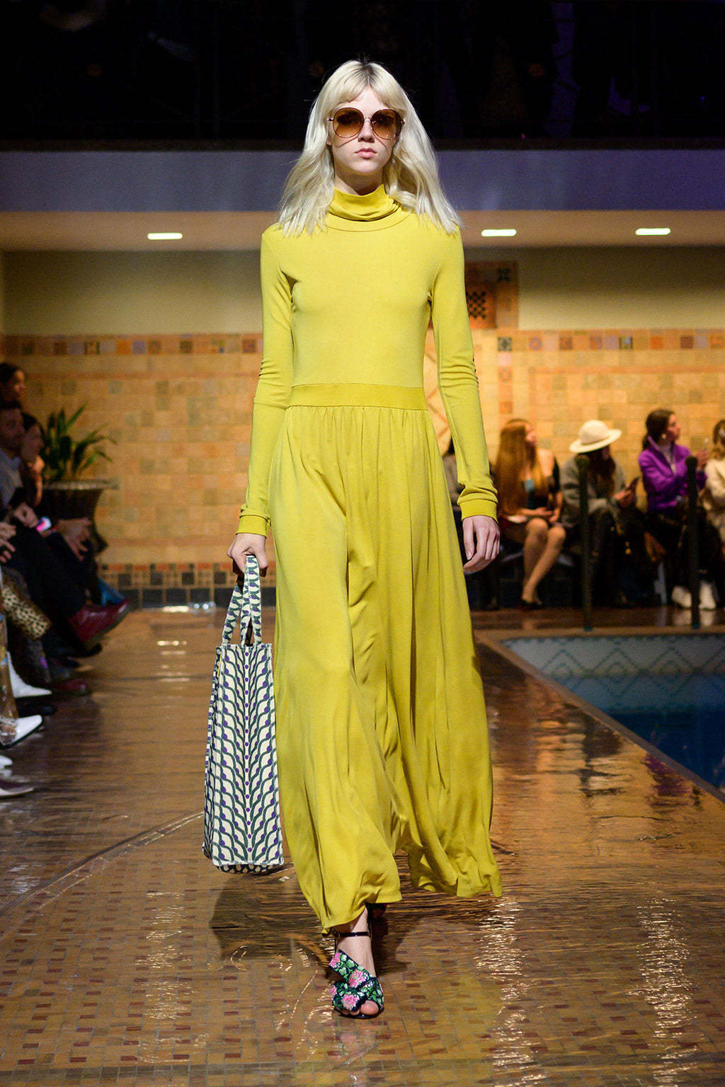 Cynthia Rowley Fall 2019 look 26 featuring a yellow long sleeve maxi dress with turtleneck