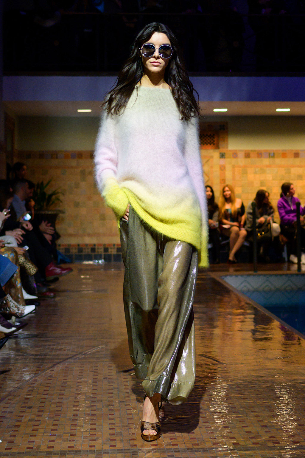 Cynthia Rowley Fall 2019 look 29 featuring an ombre sweater and metallic green wide leg pants
