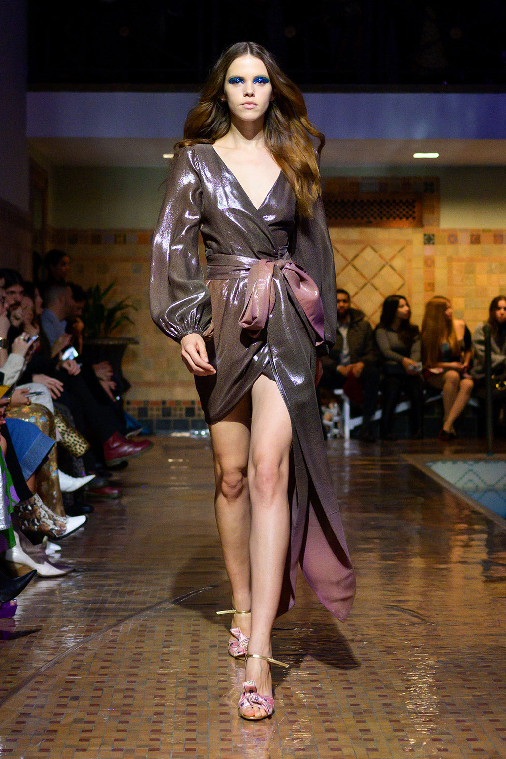 Cynthia Rowley Fall 2019 look 30 featuring a purple metallic long sleeve maxi dress with mid thigh slit
