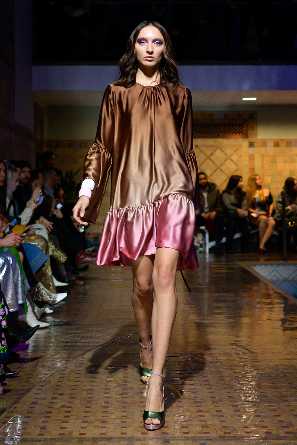 Cynthia Rowley Fall 2019 look 31 featuring a brown to pink ombre short dress