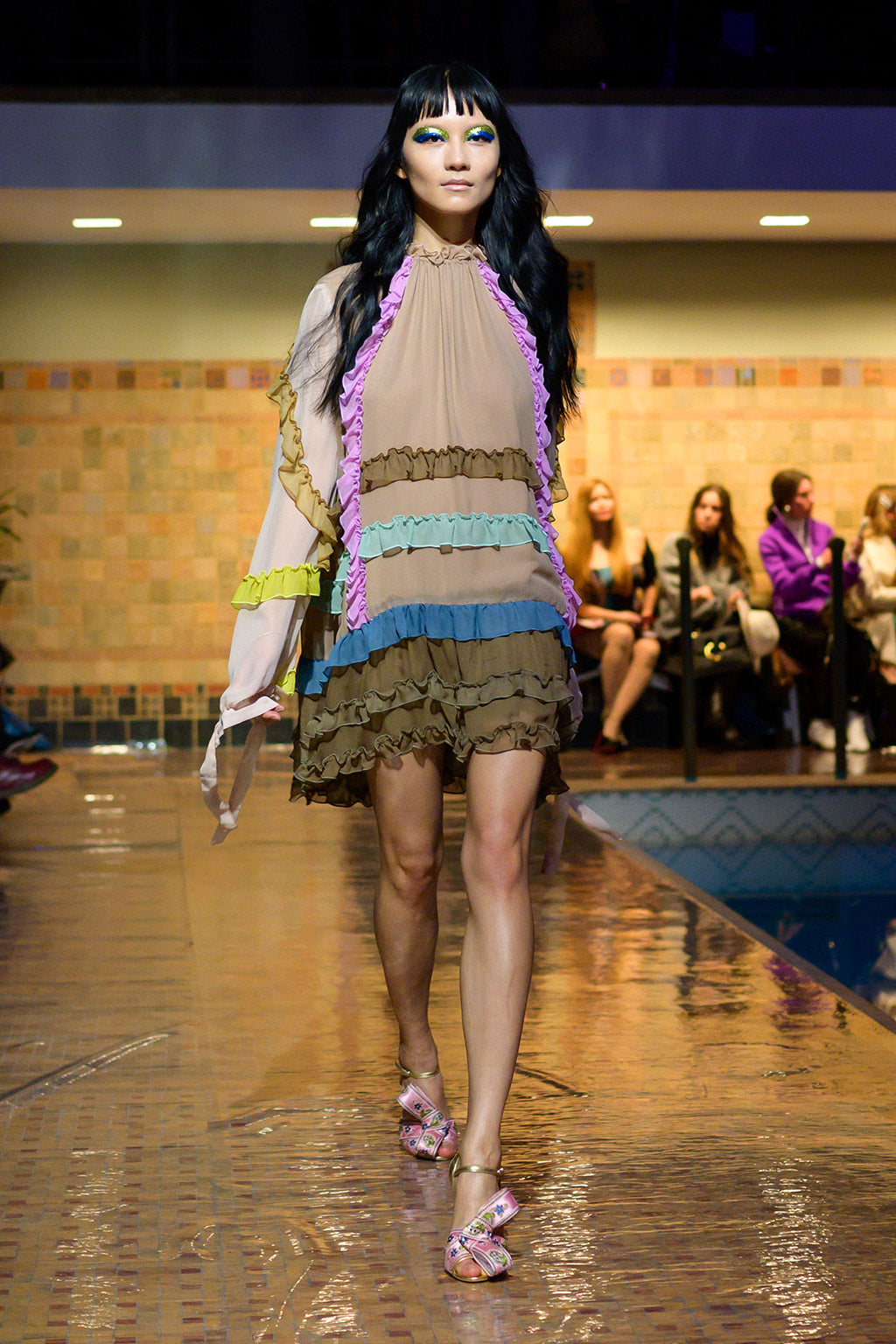 Cynthia Rowley Fall 2019 look 33 featuring a mini multicolored ruffle dress with greens, blues, and purples