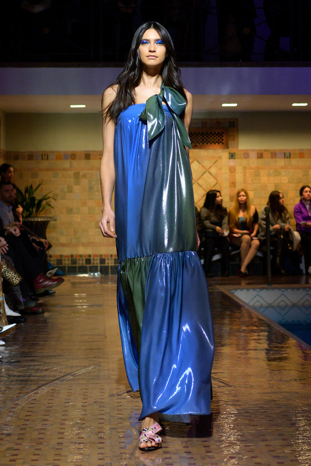 Cynthia Rowley Fall 2019 look 36 featuring blue and green ombre maxi dress
