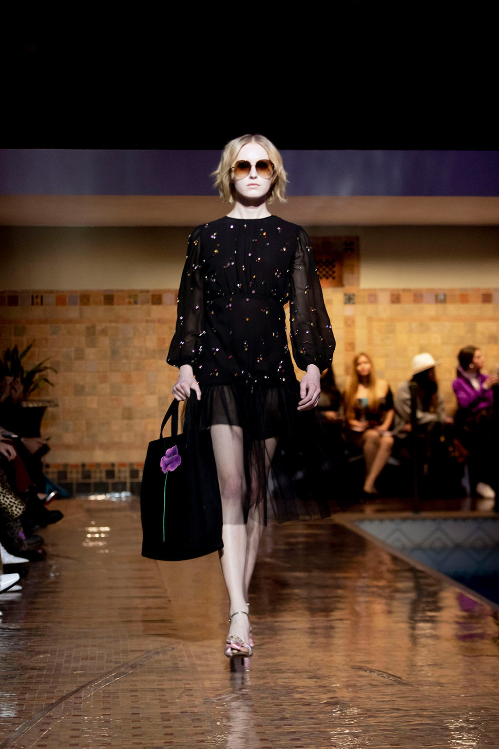 Cynthia Rowley Fall 2019 look 7 featuring a mini dress with long sheer sleeves, multi-colored embellishments, and a tulle bottom