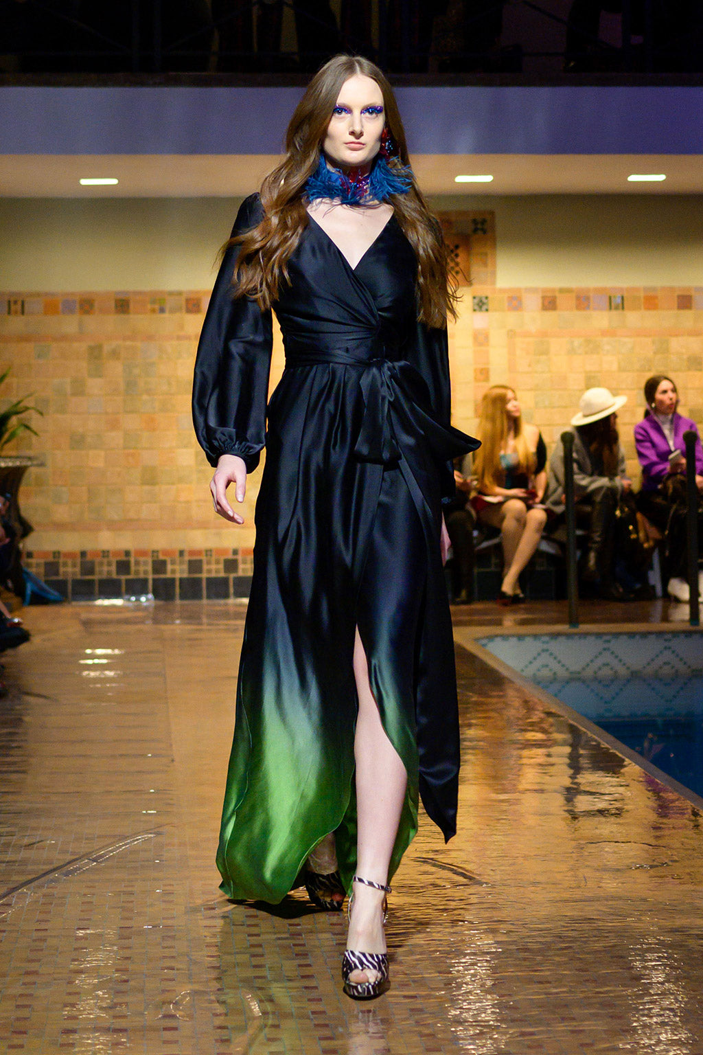 Cynthia Rowley Fall 2019 look 9 featuring a midi length wrap dress with green tie-dye effect at the bottom