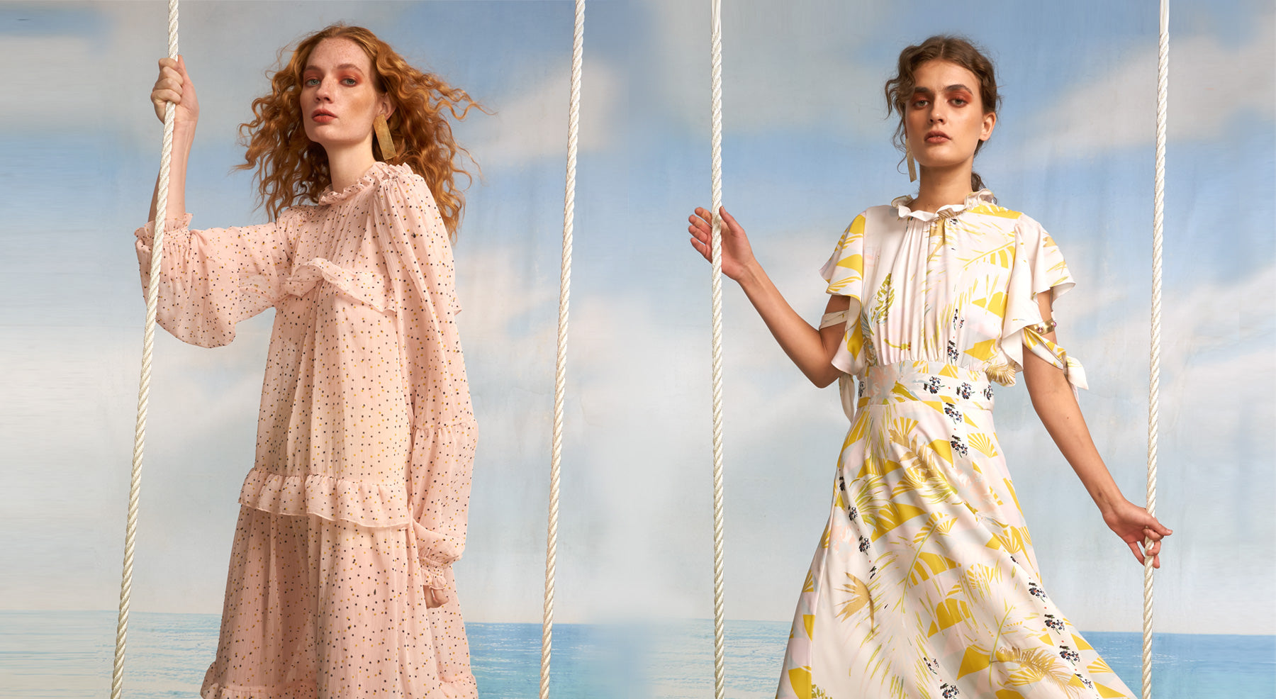 Close view of models on swings featuring the Delphine flocked dot chiffon dress and the Talia printed maxi dress.
