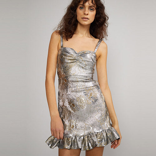 Gold Coast Metallic Brocade Dress