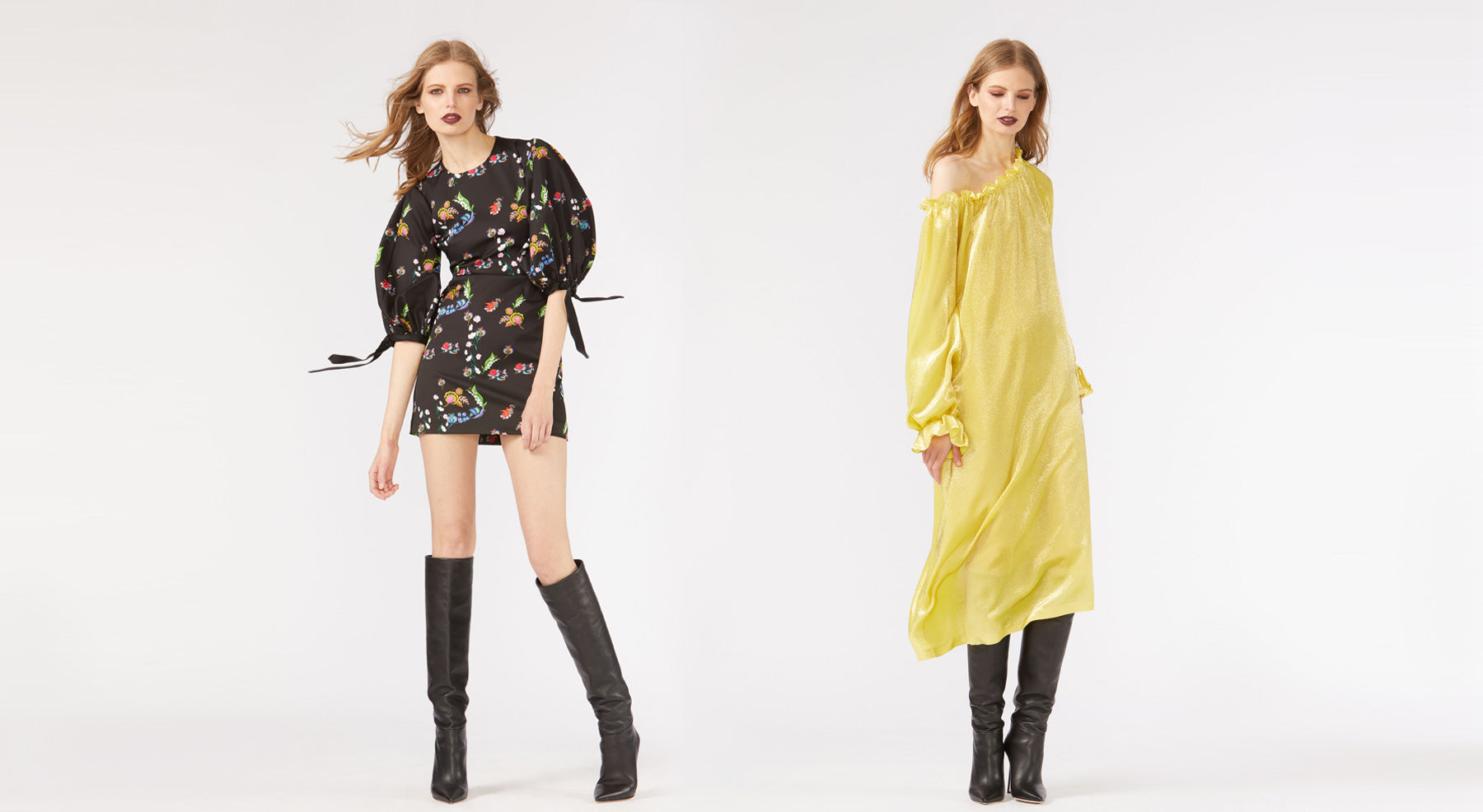 Fall 2018 look book images featuring models wearing the Shanley Off Shoulder Shimmer dress and the Iris Garden Floral Balloon sleeve mini dress.
