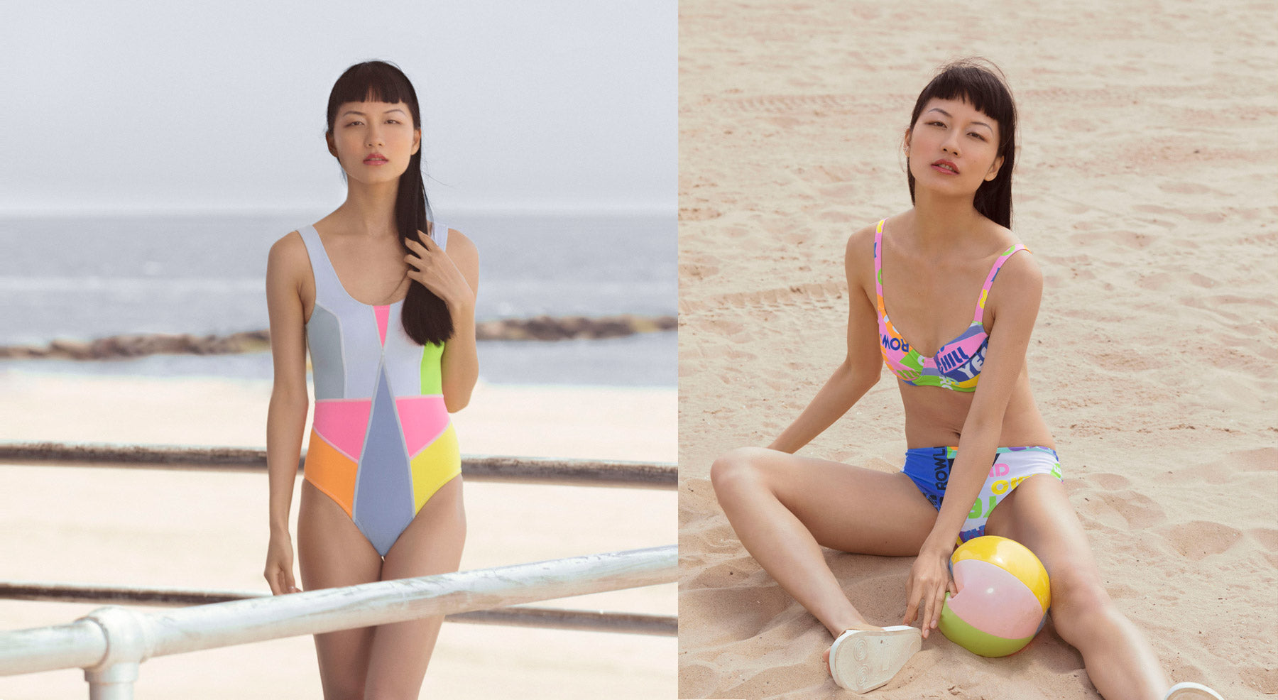 Kalleigh Colorblock Swimsuit and Good Vibes Bikini