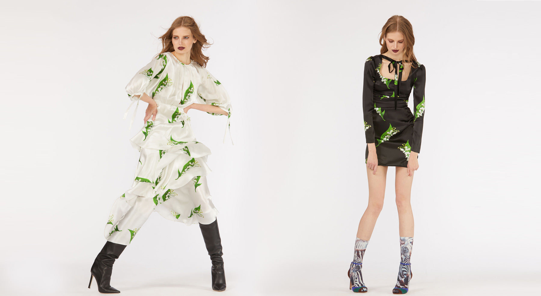 Fall 2018 Look Book images featuring models wearing dresses in  large scale lily of the Valley printed silk.