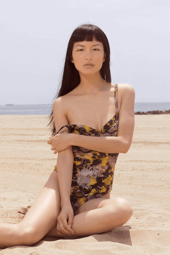 Resort Surf & Swim 2019 Collection look 3 features a swimsuit in an abstract metallic print with built in underwire bralette