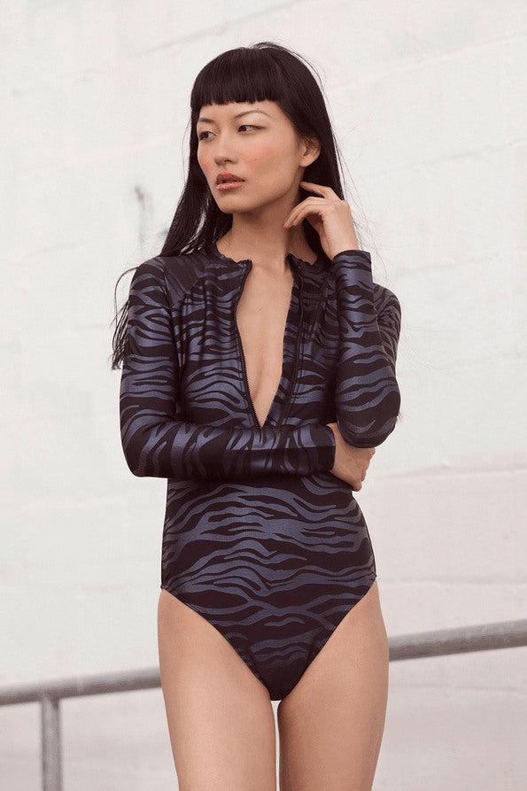 Resort Surf & Swim 2019 Collection look 7 features a surf suit with long sleeves and a front zipper in dark animal print