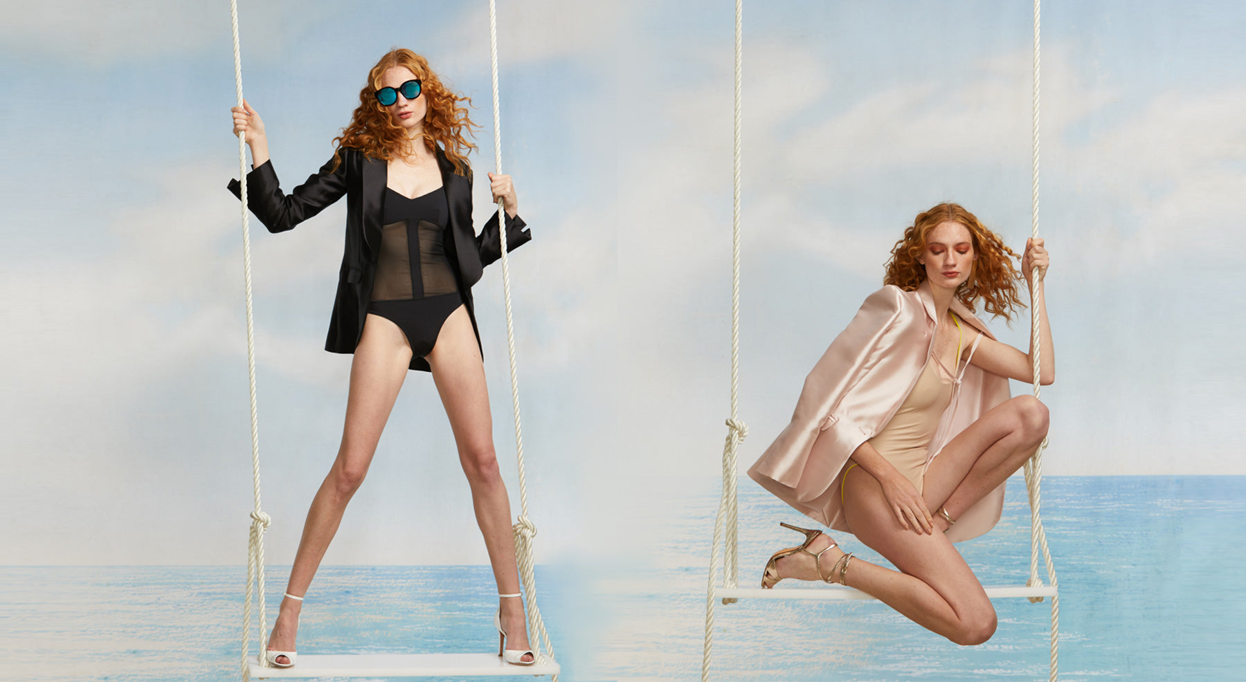 Models on swings wearing a black mesh one piece swimsuit and silk wool black smoking jacket and a beige surfsuit with light pink silk wool smoking jacket.