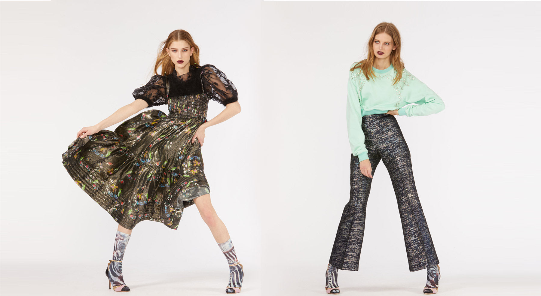 Models wearing the Parker Floral Metallic dress and the Stella Metallic Brocade Flare pants.