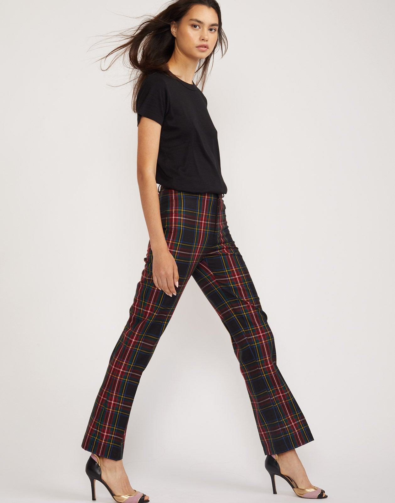 Full side view of the Astor plaid wool pants.