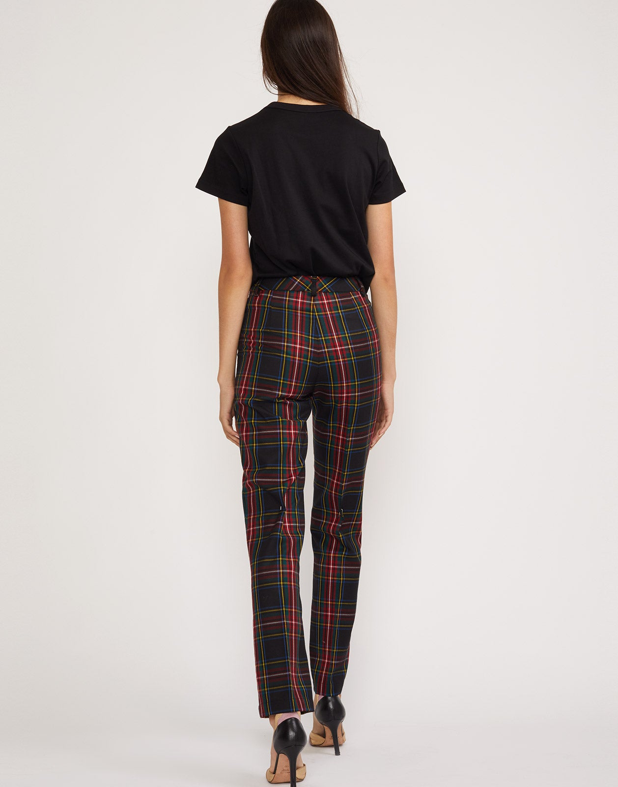 Back view of the Astor plaid wool pants.